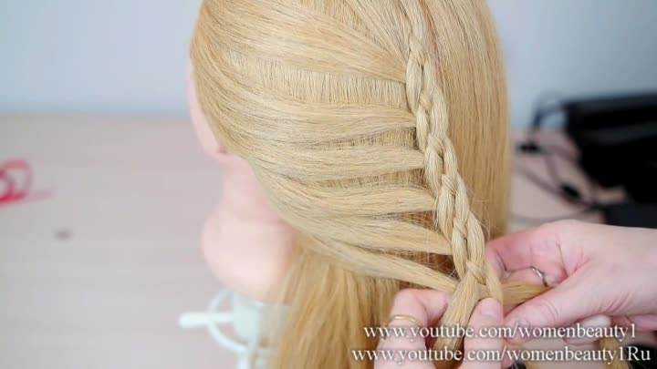 Hairstyles For Long Hair. 4 Strand Braids Hair With Ribbon
