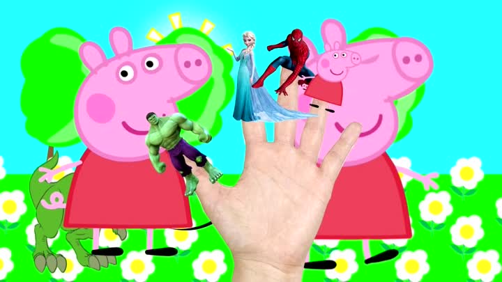Finger Family Collection Peppa Pig Spiderman Superheroes Nursery