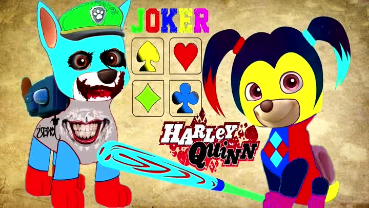 Видео: Paw Patrol Щенячий патруль Joker Harley Quinn Coloring Book for Kids Cartoon Мультфильмы для детей