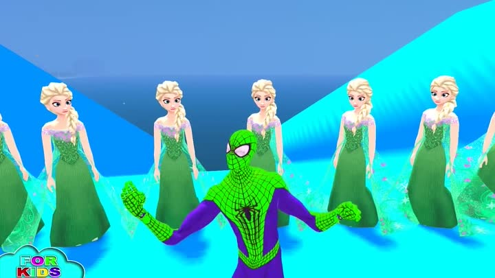 Видео: GREEN Spiderman & Disney Frozen Elsa & Nursery Rhymes