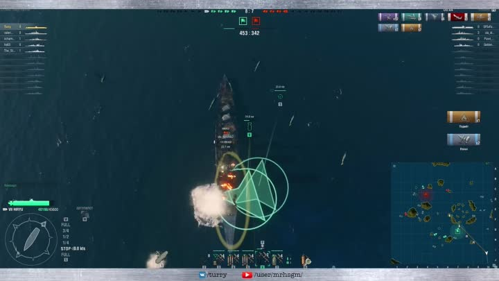 Видео: [World of Warships] Авианосец Японии Hiryu - Последний бой Екадзуна Мусасимару (Авианосец Хирю)