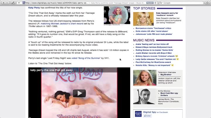 """Katy Perry - The One That Got Away (New Single from 'Teenage Dream"""" - Confirmed 6th)"""