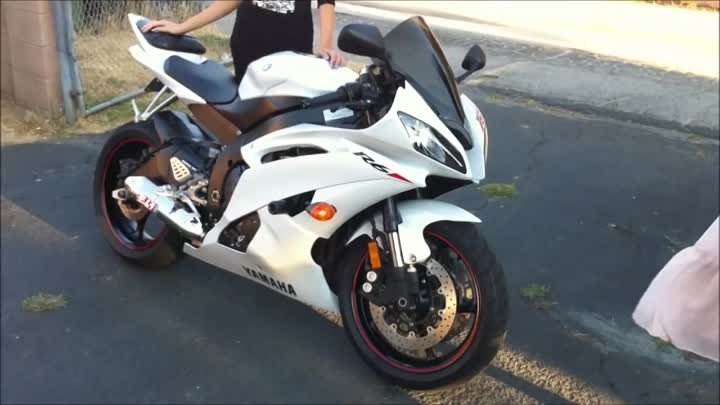 White Yamaha YZF R6 and Girl in Black Dress Modeling. Motorcycle VLOG