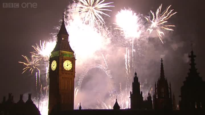 Видео: London Fireworks 2013 with Music and Sound Bites of 2012 Mix - New Year Live - BBC One