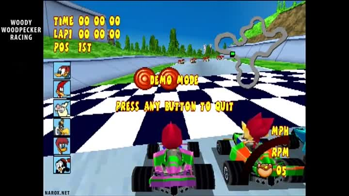 Woody Woodpecker Racing / auto demo / PS1 game released in 2000