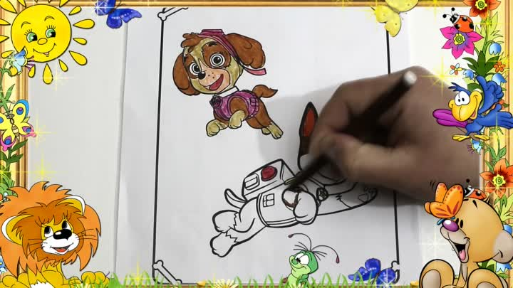 Видео: Щенячий патруль Раскраска Скай и Гонщик. PAW Patrol Coloring book Coloring Skye and Chase - 43 серия