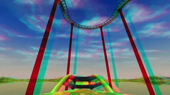 Видео: 3D - Roller Coaster Tycoon 3 - Stereo 3D anaglyph Test Red Cyan Glasses Video 2