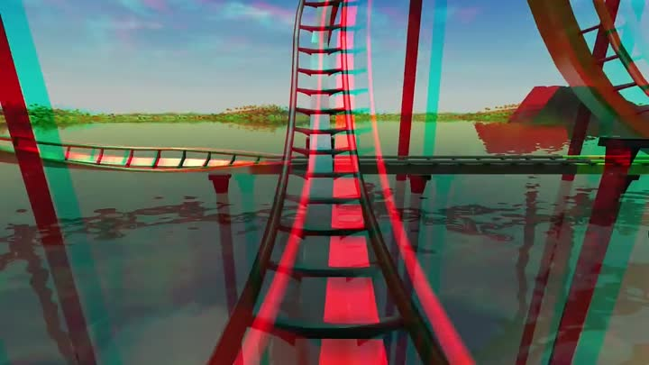 3D - Roller Coaster Tycoon 3 - Stereo 3D anaglyph Test Red Cyan Glasses Video 2