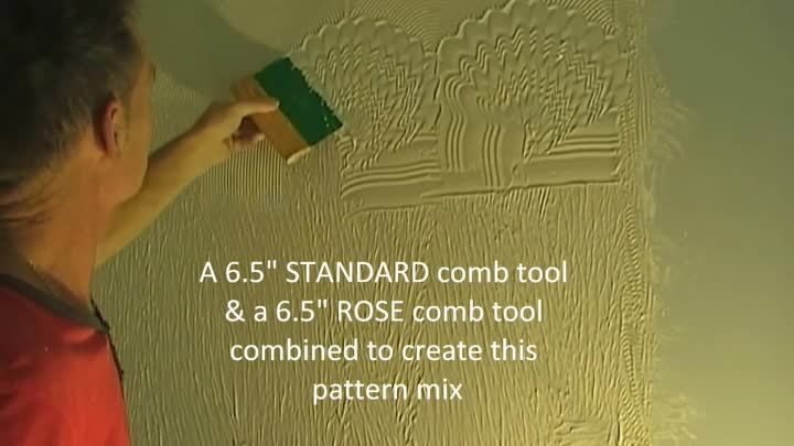 Free-Hand Wall 3D Mud Comb Texture Rose/Standard Artex Style Pattern