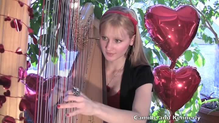Видео: The BEATLES - All You Need Is Love (Harp Twins) Camille and Kennerly
