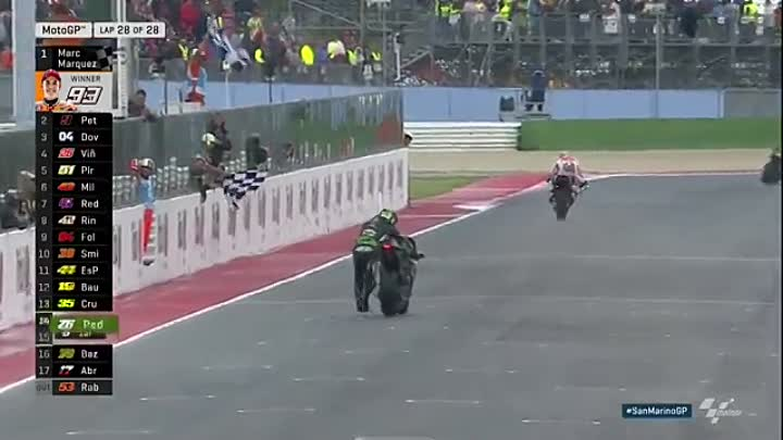 Видео: SanMarinoGP 2017, Zarko pushes his bike over the line