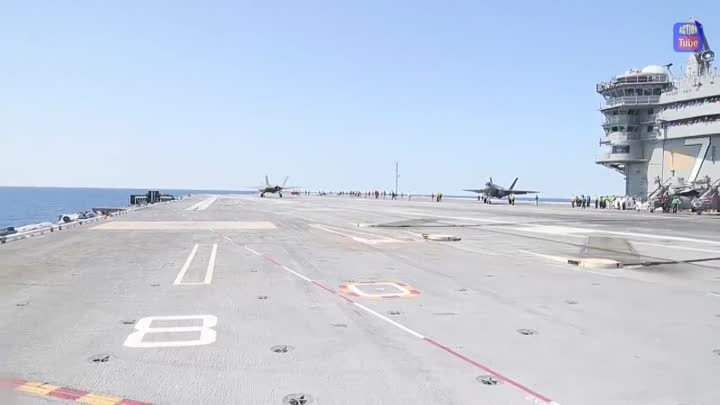 Видео: F 35 впервые на авианосце F 35 for the first time on an aircraft carrier