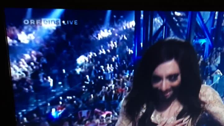 Conchita Wurst winning the Eurovision Song Contest 2014 for Austria