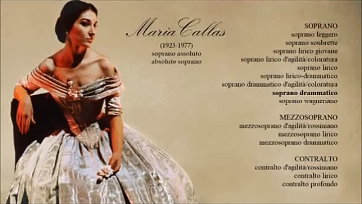 Maria Callas' absolute voice extended demonstration.