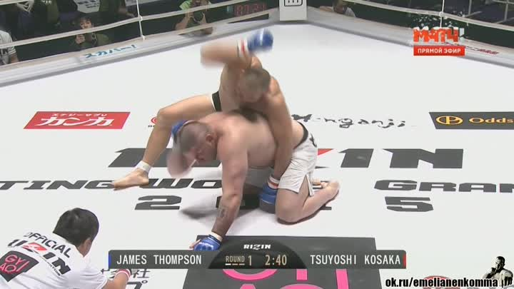 Джеймс Томпсон vs. Цуйоши Косака .Rizin FF - Rizin Fighting Federation 1. 29 декабря 2015